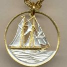 Cayman Is. 25 cent Sail boat (U.S. quarter size)
