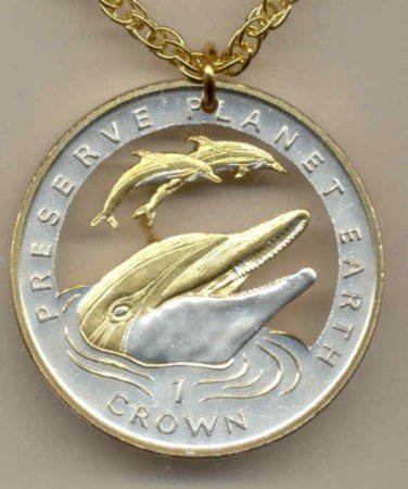 Gibraltar 1 Crown (Preserve Planet Earth) 3 Dolphins (U.S. silver dollar size)