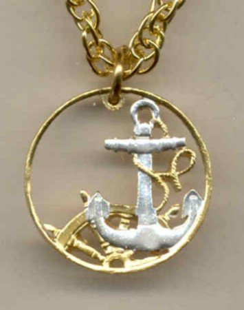 Spanish 50 centimes Anchor & ships wheel (U.S. nickel size)
