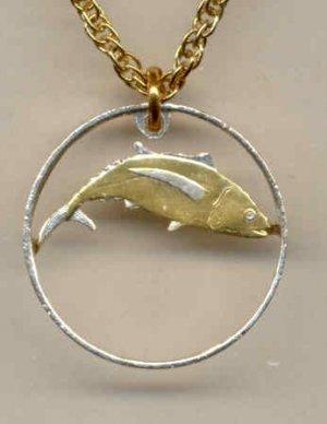St. Helena Islands penny Tuna fish (A little smaller than a U.S. nickel)