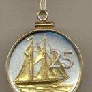 Cayman Islands 25 cent Sail boat (U.S. quarter size)