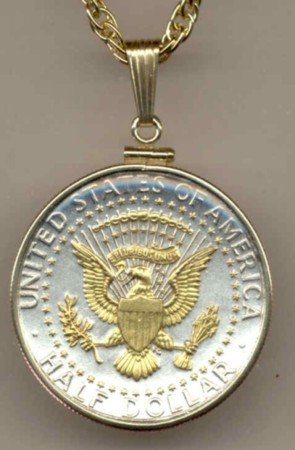 Kennedy half dollar (reverse) (Eagle, Stars & Banner -in Gold) (minted 1970 - date)