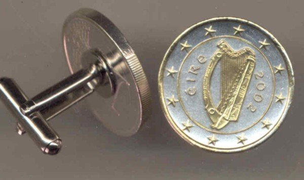 Ireland one Euro Harp, stars, center circle & rim done in Gold