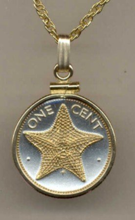 """Bahamas 1 cent Star fish (same size as a U.S. penny) minted 1970 -date 18"""" chain"""