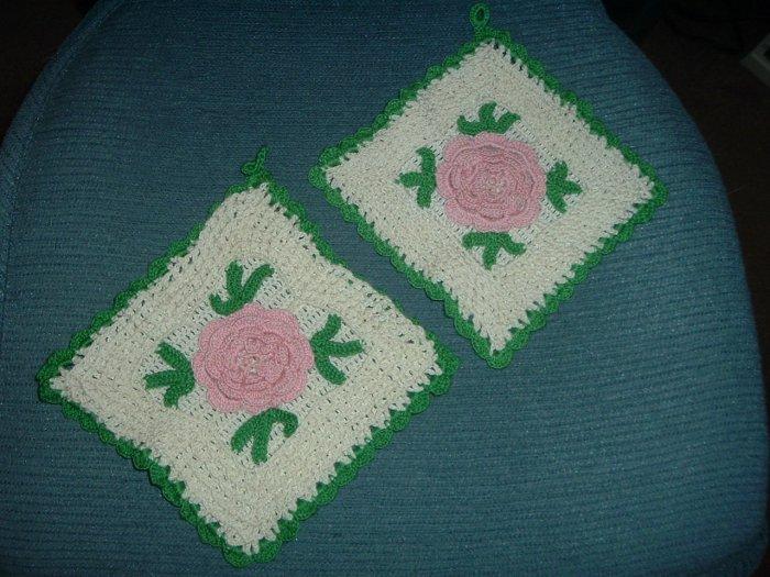 Rose Crocheted Potholders
