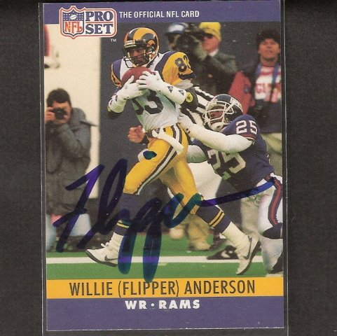 """WILLIE """"FLIPPER"""" ANDERSON - Rams & UCLA BRUINS Autograph"""