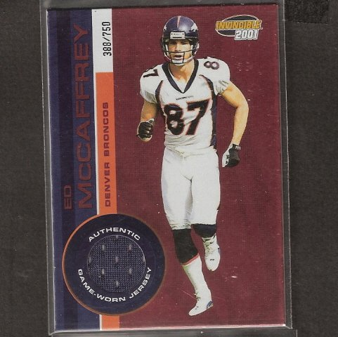 ED McCAFFREY - 2001 Pacific Invicible JERSEY - Broncos, Giants, 49ers & Stanford Cardinal