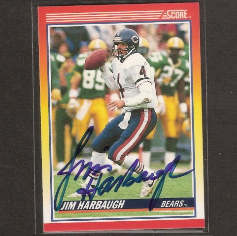 JIM HARBAUGH - 1990 Score Bears, 49ers  & Michigan Wolverines - AUTOGRAPH