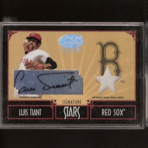 LUIS TIANT - 2004 Leaf Certified Cuts AUTOGRAPHED Game-Used JERSEY - Red Sox