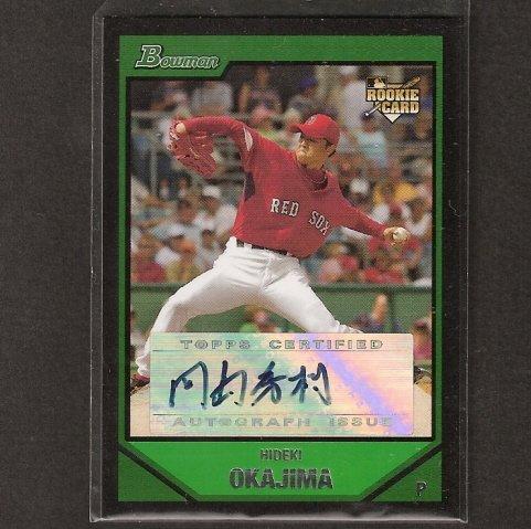 HIDEKI OKAJIMA - 2007 Bowman JAPANESE Autograph ROOKIE - Red Sox