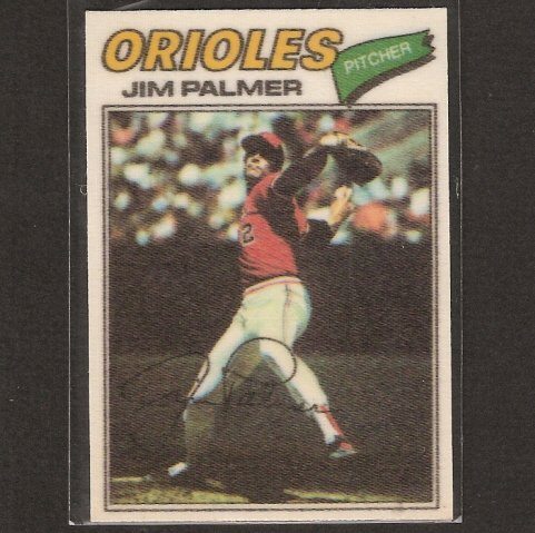 JIM PALMER - 1977 Topps CLOTH STICKER - NM-Mint - Baltimore Orioles