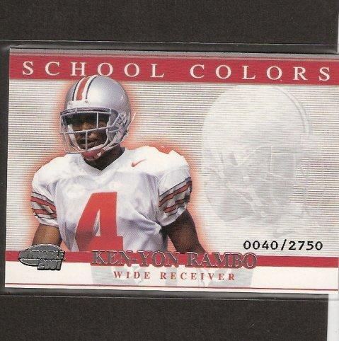 KEN-YON RAMBO - 2001 Pacific Invincible School Colors- Dallas Cowboys & Ohio State