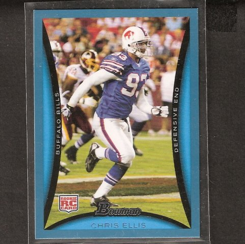 CHRIS ELLIS - 2008 Bowman BLUE ROOKIE - Buffalo Bills & Virginia Tech Hokies