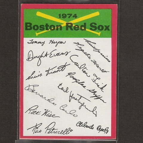 RED SOX TEAM CARD 1974 Topps Signature Checklist