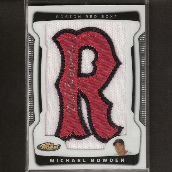 """MICHAEL BOWDEN - 2009 Finest Letter Patch Autograph, """"R"""" in Red Sox - Cubs"""