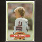 PHIL SIMMS - 1980 Topps RC Near-Mint + NY Giants & Morehead State