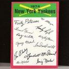 NEW YORK YANKEES TEAM CARD 1974 Topps Signature Checklist