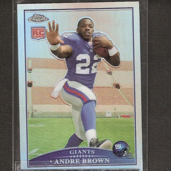 ANDRE BROWN - 2009 Topps Chrome REFRACTOR Rookie Card - NY Giants & NC State Wolfpack