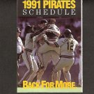 Pittsburgh Pirates 1991 Pocket Schedule - Barry Bonds, Bobby Bonilla