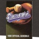 Texas Rangers 1990 Pocket Schedule