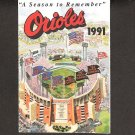 Baltimore Orioles 1991 Pocket Schedule - Last year at Memorial Stadium