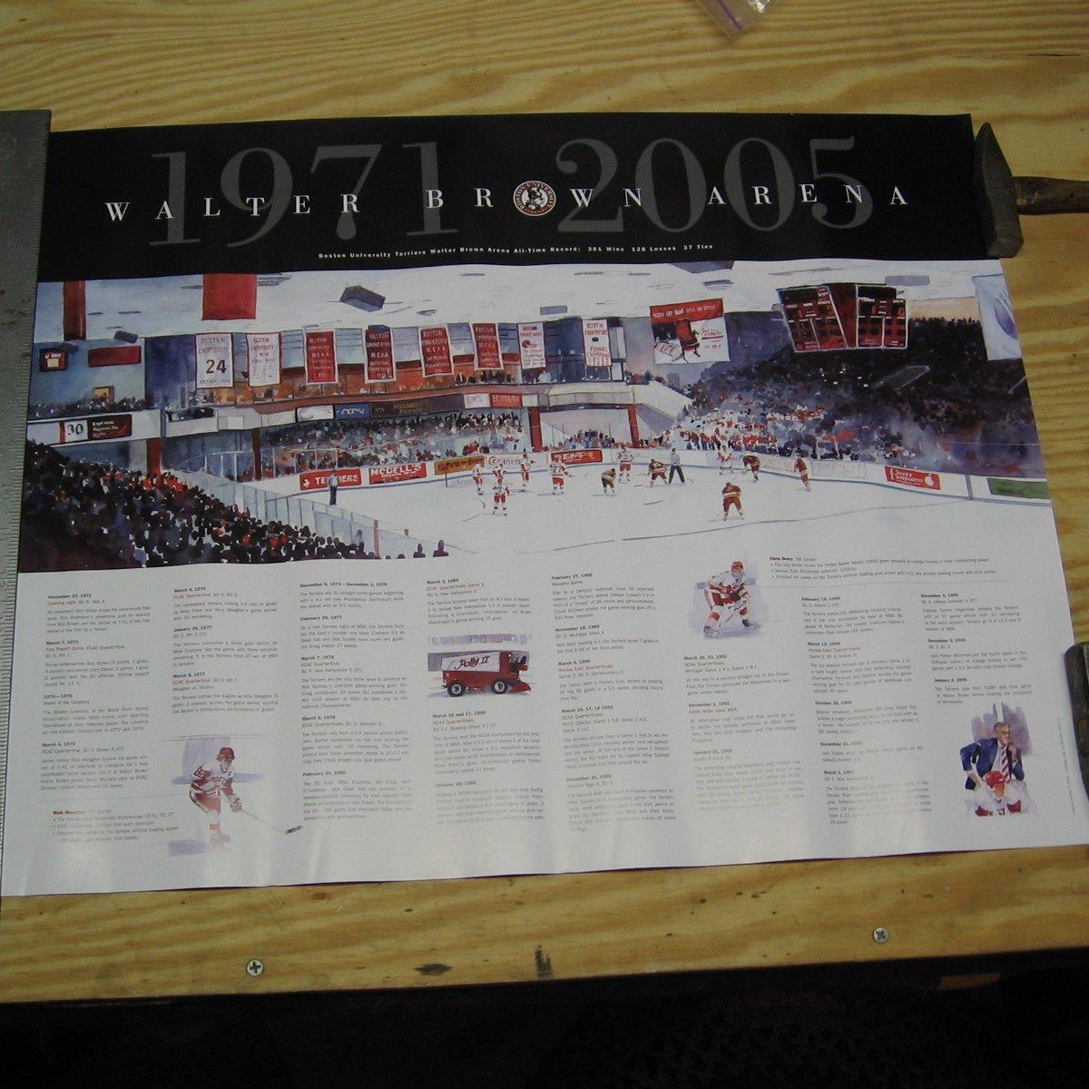2005 NCAA Hockey Walter Brown Arena Commemorative POSTER - Boston University Terriers