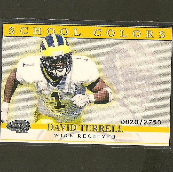 DAVID TERRELL - 2001 Pacific Invincible School Colors- Chicago Bears & Michigan Wolverines