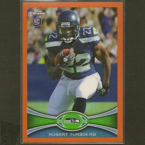 ROBERT TURBIN 2012 Topps Chrome Orange Refractor RC - Seahawks & Utah State Aggies