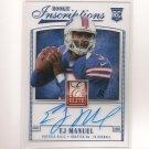 2013 EJ E.J. MANUEL Elite Inscriptions BLUE Autograph RC - Bills & Florida State Seminoles