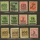 Germany Overprint Postage Stamp Lot - 1923 - Scott 243,251,252,255,264,269,274,275,276,O2,O28,O38