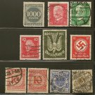 Germany Reich Postage Stamp Lot x10 - Carrier Pigeon - Scott # C18,46,49,234,286,355,368,374,O98