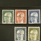 Germany Heinemann Postage Stamp Lot x5 - A312 Scott # 1030, 1032,1033, 1036, 1038