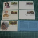 1987-1991 USPS Fleetwood Stationery Postal Card FDC First Day of Issue Lot x5