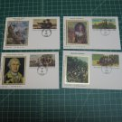 1981-1992 USPS Colorano Silk Stationery Postal Card FDC First Day of Issue Lot x4