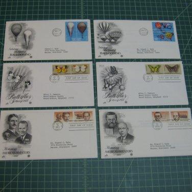 US Postal FDC Artcraft Cachet Lot x12 Plate/Block of 4 -First Day-Trains, Balloons, Butterflies