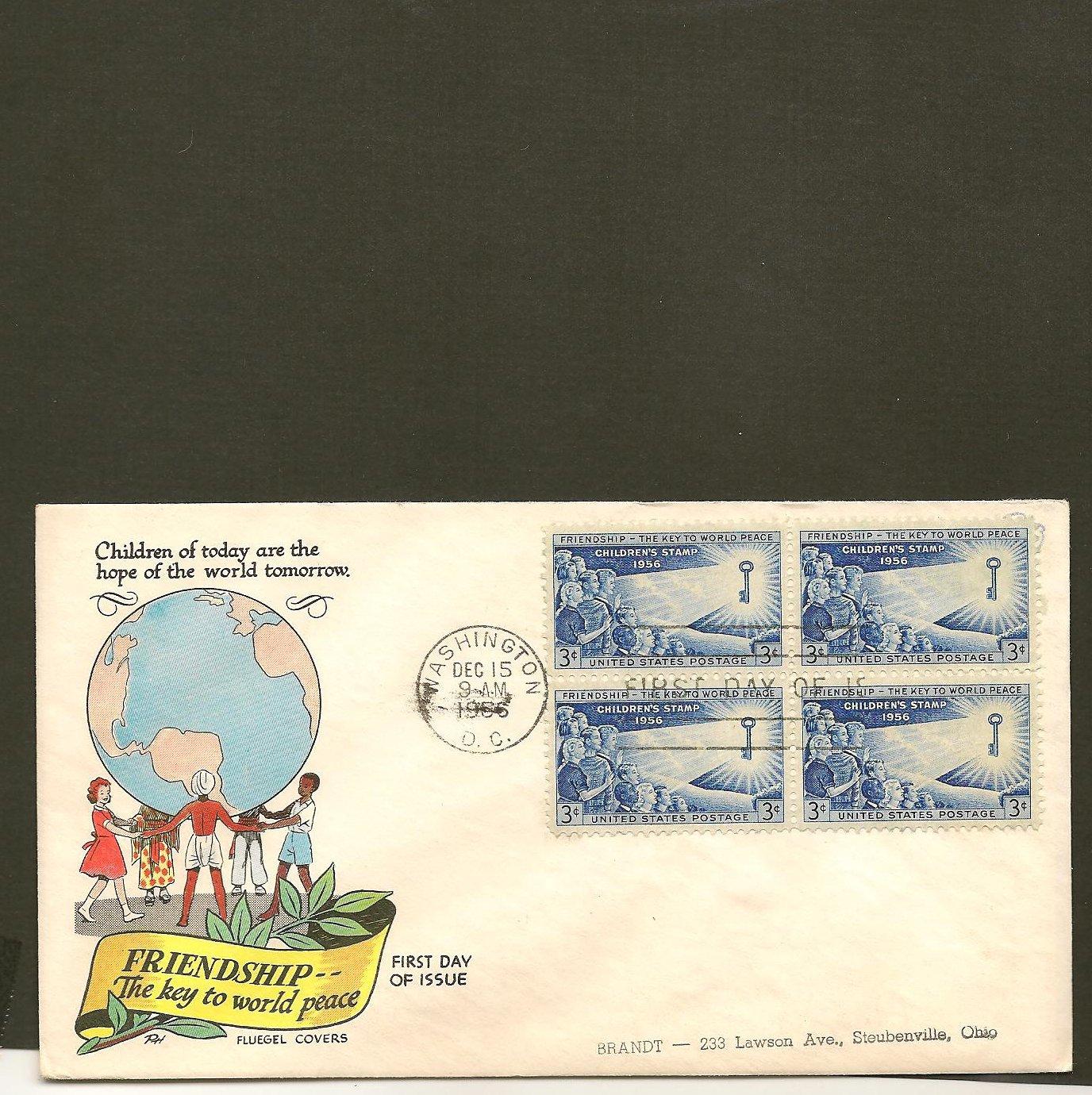 1956 USPS Fluegel FDC Scott #1085 Washington, DC Block of 4 - Children - First Day of Issue/Cover