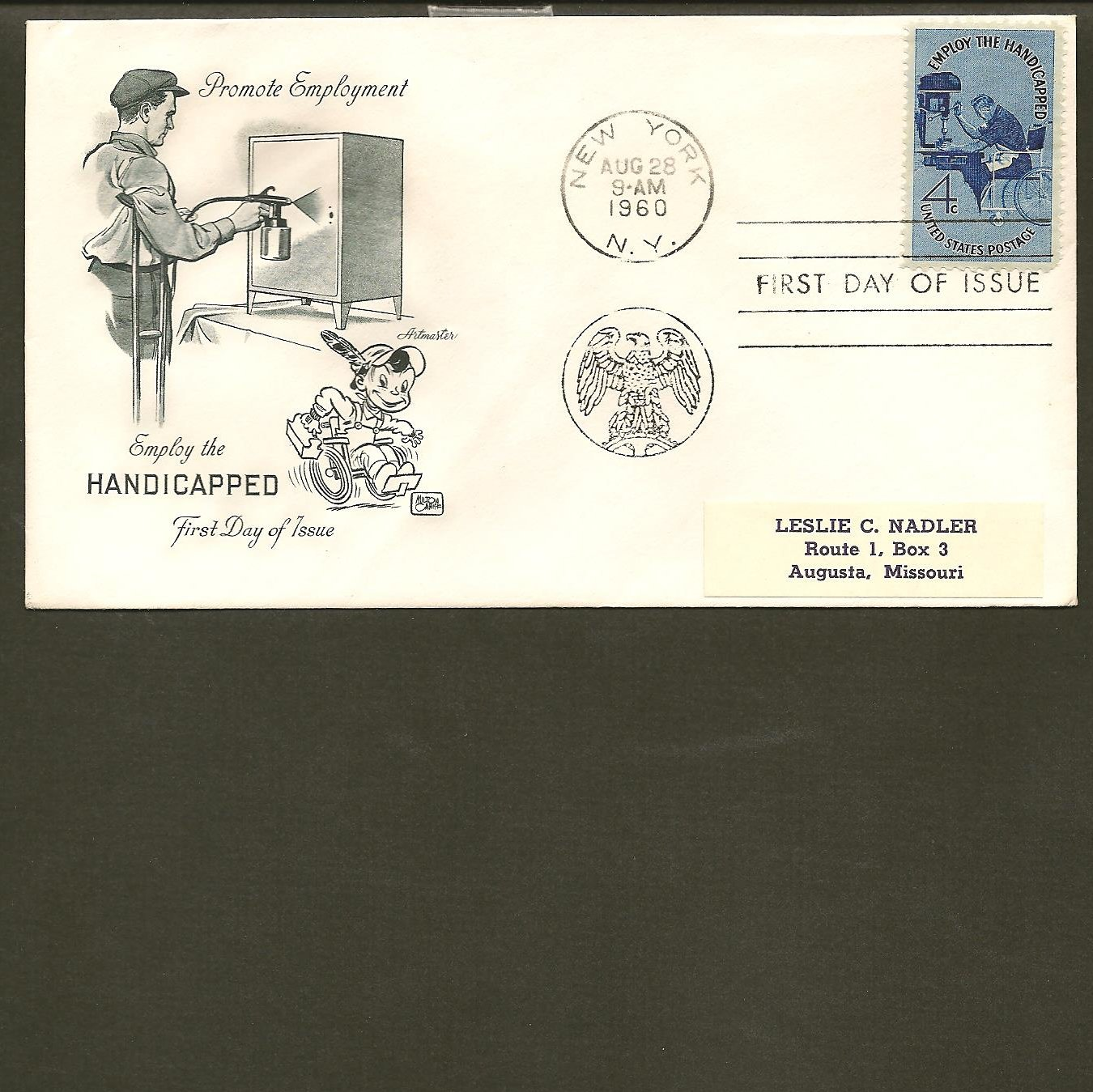 1960 USPS Artmaster FDC Scott #1155 -New York, NY- Employ Handicapped -First Day of Issue/Cover