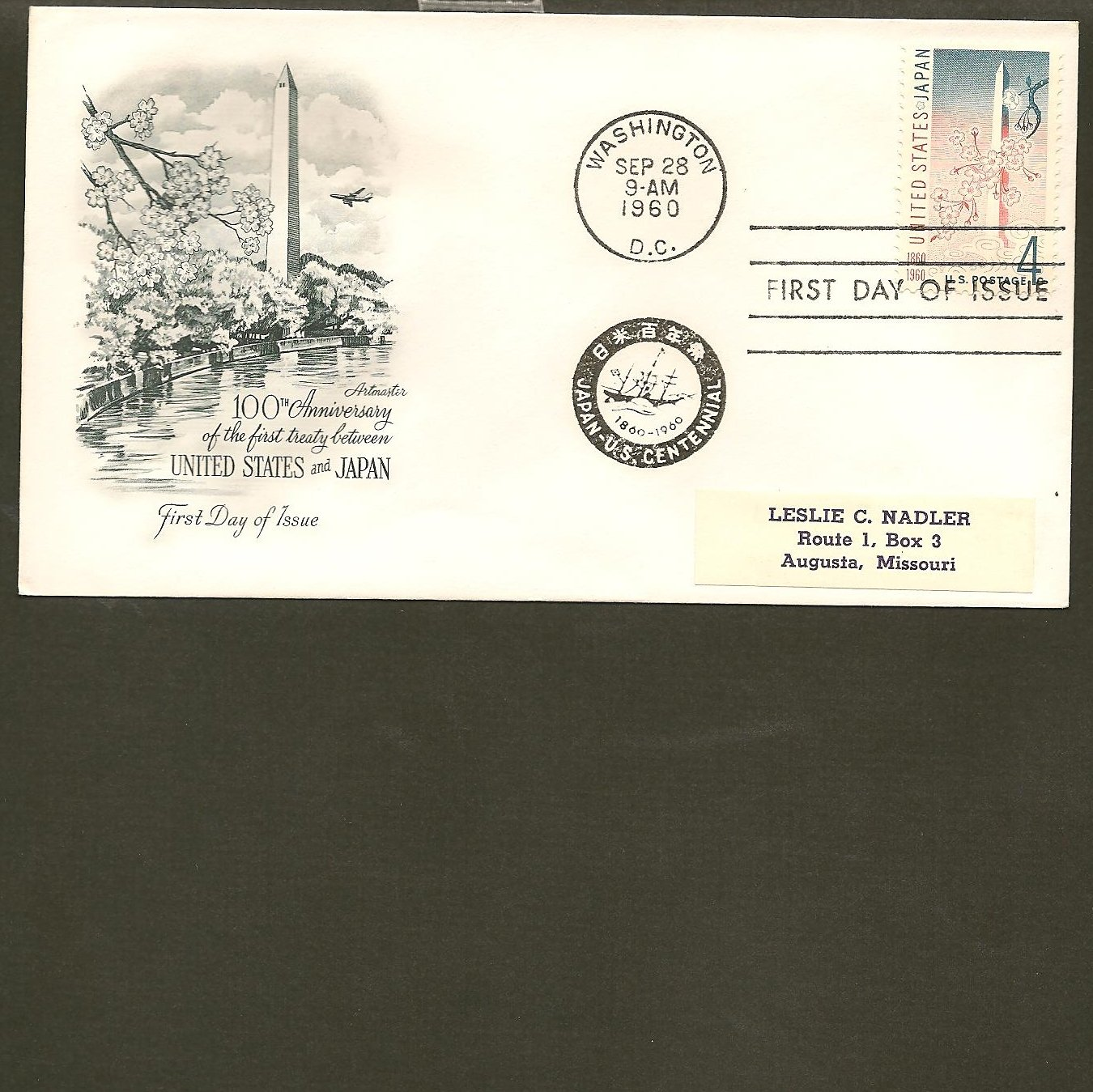 1960 USPS Artmaster FDC Scott #1158  -Washington, DC- Japan Treaty -First Day of Issue