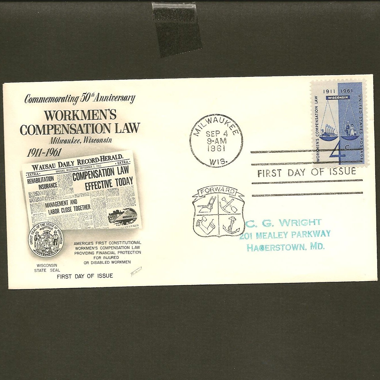 1961 USPS Fleetwood FDC Scott #1186 - Milwaukee, WI - Workmen's Compensation -First Day of Issue