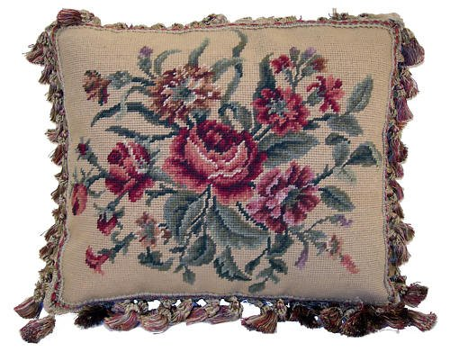 FLORAL BEIGE NEEDLEPOINT ACCENT PILLOW