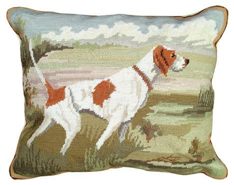 POINTER IN THE FIELD NEEDLEPOINT ACCENT PILLOW!