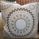 SUZANI ACCENT PILLOW -BROWN,MINERAL BLUE,CELEDON