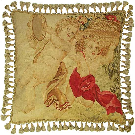 Dancing Cherubs Aubusson Pillow