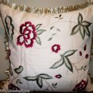 TAUPE EMBROIDERED FLORAL ACCENT PILLOW