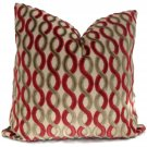HIGHLAND COURT BELGIUM GEOMETRIC PILLOW -TOMATO