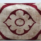 Cranberry Cotton Silk Velvet Ikat Pillow