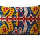 HAND MILLED BAHMAL SILK VELVET IKAT ACCENT PILLOW
