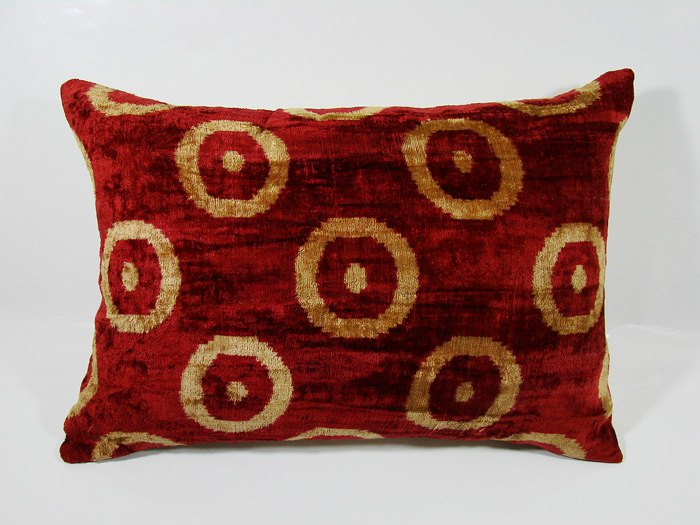SILK VELVET IKAT ACCENT PILLOW CIRCLES