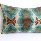 SILK VELVET IKAT ACCENT PILLOW Aqua
