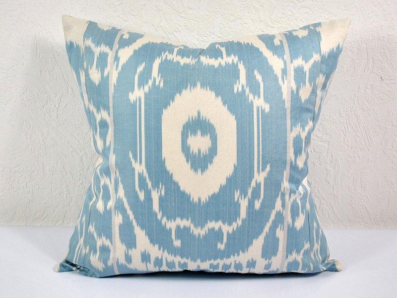 Silk & Cotton Ikat Accent Pillow Blue